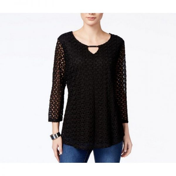 jm collection crocheted keyhole blouse deep black ps - 706256041964 800x800 600x600 - JM Collection Crocheted Keyhole Blouse Deep Black PS