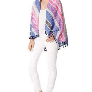 Scarf /& Swim Cover-Up New Collection XIIX Beach Stripe Oversize Tassel Wrap