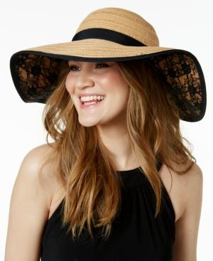 - open uri20200125 7349 8sv51n - INC Womens Lace Contrast Trim Floppy Hat Beige O/S