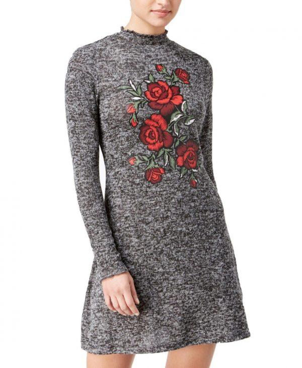 - 1220 29f08371 4923 4894 8487 ca38d388b39b0 600x731 - Ultra Flirt Juniors' Rose Graphic Sweater Dress (Black White, M)